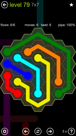 Solution and Answer to the Puzzle for Flow Hexes Pack Set 5x5 Level 79