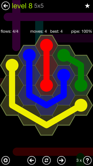 Solution and Answer to the Puzzle for Flow Hexes Pack Set 5x5 Level 8