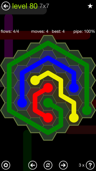 Solution and Answer to the Puzzle for Flow Hexes Pack Set 5x5 Level 80