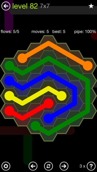 Solution and Answer to the Puzzle for Flow Hexes Pack Set 5x5 Level 82