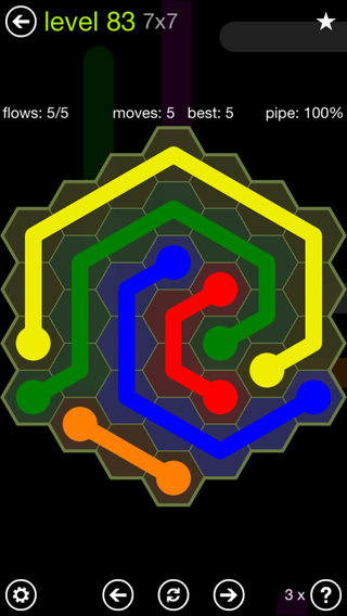 Solution and Answer to the Puzzle for Flow Hexes Pack Set 5x5 Level 83