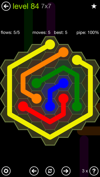 Solution and Answer to the Puzzle for Flow Hexes Pack Set 5x5 Level 84