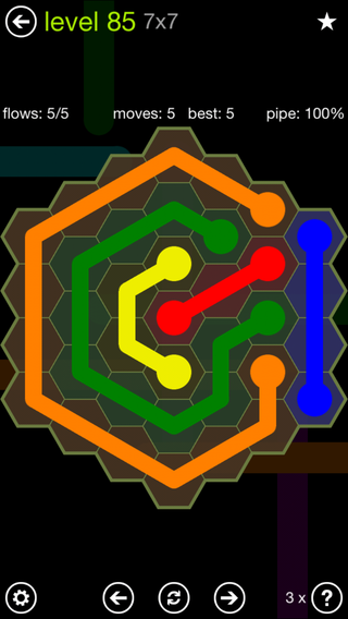 Solution and Answer to the Puzzle for Flow Hexes Pack Set 5x5 Level 85