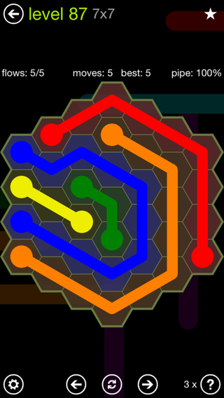 Solution and Answer to the Puzzle for Flow Hexes Pack Set 5x5 Level 87