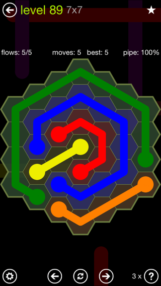 Solution and Answer to the Puzzle for Flow Hexes Pack Set 5x5 Level 89