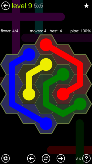 Solution and Answer to the Puzzle for Flow Hexes Pack Set 5x5 Level 9