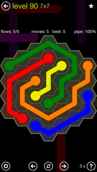 Solution and Answer to the Puzzle for Flow Hexes Pack Set 5x5 Level 90