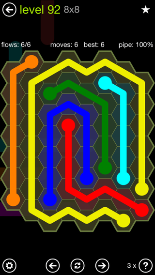 Solution and Answer to the Puzzle for Flow Hexes Pack Set 5x5 Level 92