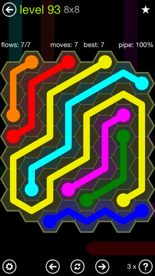 Solution and Answer to the Puzzle for Flow Hexes Pack Set 5x5 Level 93