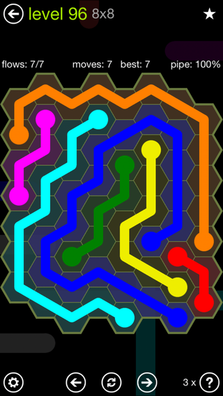 Solution and Answer to the Puzzle for Flow Hexes Pack Set 5x5 Level 96