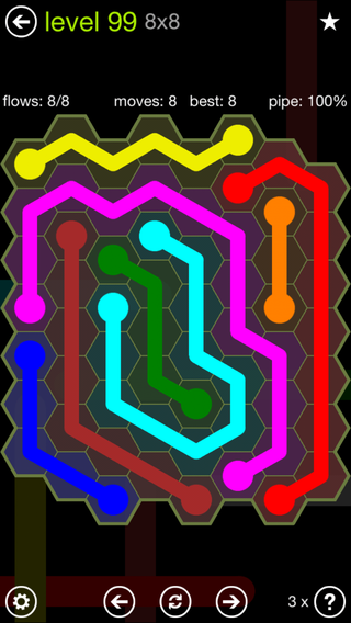 Solution and Answer to the Puzzle for Flow Hexes Pack Set 5x5 Level 99