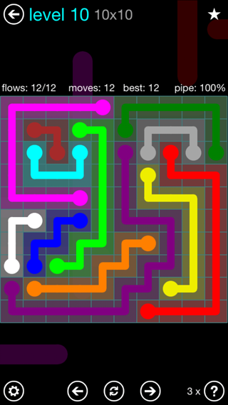 Solution and Answer to the Puzzle for Flow Interval Pack Set 6x6 Level 10