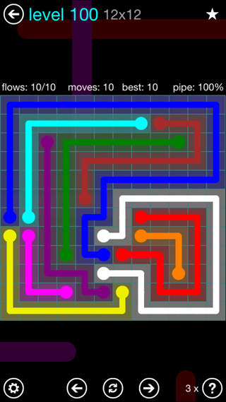 Solution and Answer to the Puzzle for Flow Interval Pack Set 6x6 Level 100