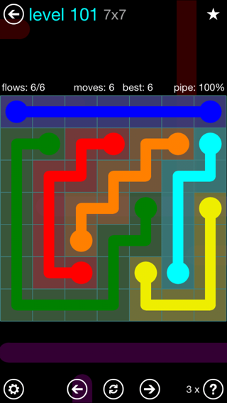 Solution and Answer to the Puzzle for Flow Interval Pack Set 6x6 Level 101