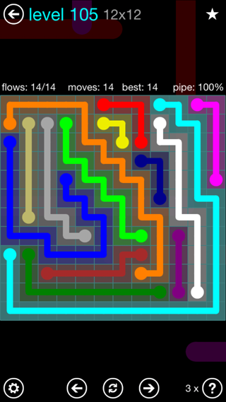 Solution and Answer to the Puzzle for Flow Interval Pack Set 6x6 Level 105