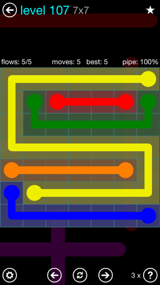 Solution and Answer to the Puzzle for Flow Interval Pack Set 6x6 Level 107
