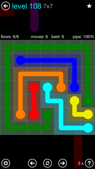 Solution and Answer to the Puzzle for Flow Interval Pack Set 6x6 Level 108