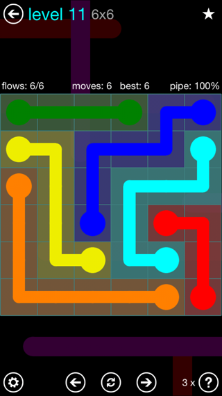 Solution and Answer to the Puzzle for Flow Interval Pack Set 6x6 Level 11