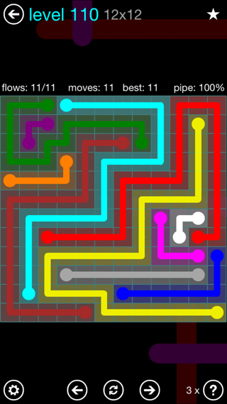 Solution and Answer to the Puzzle for Flow Interval Pack Set 6x6 Level 110