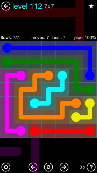 Solution and Answer to the Puzzle for Flow Interval Pack Set 6x6 Level 112