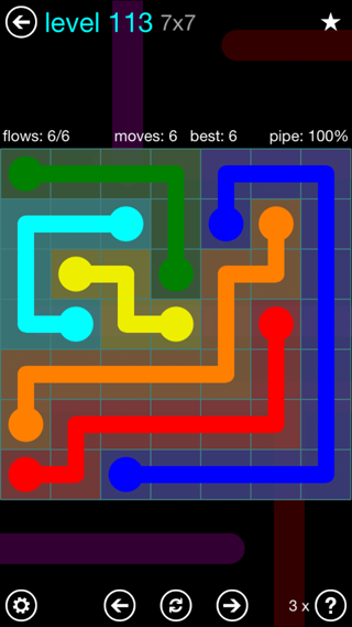 Solution and Answer to the Puzzle for Flow Interval Pack Set 6x6 Level 113