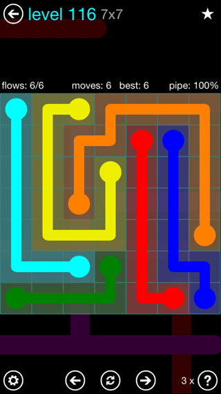 Solution and Answer to the Puzzle for Flow Interval Pack Set 6x6 Level 116