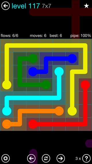Solution and Answer to the Puzzle for Flow Interval Pack Set 6x6 Level 117