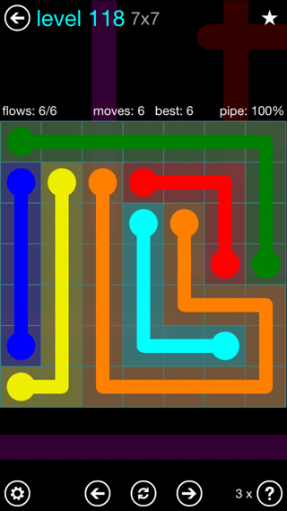 Solution and Answer to the Puzzle for Flow Interval Pack Set 6x6 Level 118