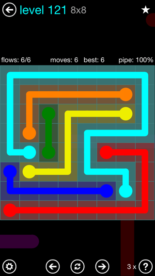 Solution and Answer to the Puzzle for Flow Interval Pack Set 6x6 Level 121