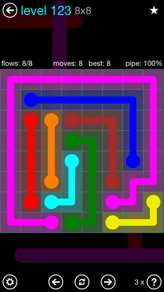Solution and Answer to the Puzzle for Flow Interval Pack Set 6x6 Level 123