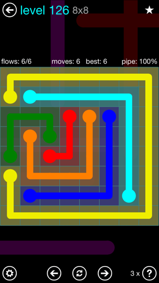 Solution and Answer to the Puzzle for Flow Interval Pack Set 6x6 Level 126