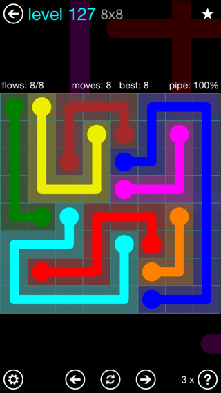 Solution and Answer to the Puzzle for Flow Interval Pack Set 6x6 Level 127