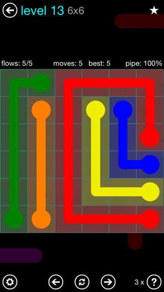 Solution and Answer to the Puzzle for Flow Interval Pack Set 6x6 Level 13