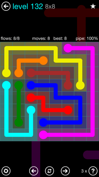 Solution and Answer to the Puzzle for Flow Interval Pack Set 6x6 Level 132