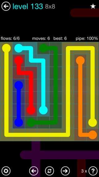 Solution and Answer to the Puzzle for Flow Interval Pack Set 6x6 Level 133