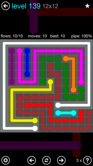 Solution and Answer to the Puzzle for Flow Interval Pack Set 6x6 Level 139