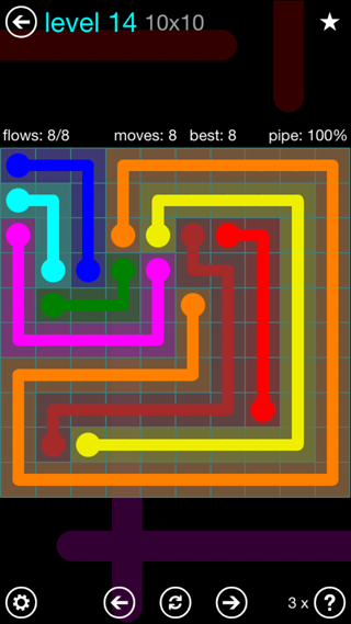 Solution and Answer to the Puzzle for Flow Interval Pack Set 6x6 Level 14