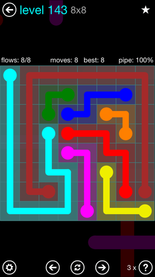Solution and Answer to the Puzzle for Flow Interval Pack Set 6x6 Level 143