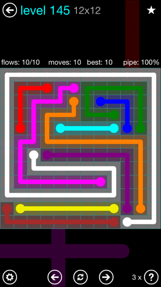 Solution and Answer to the Puzzle for Flow Interval Pack Set 6x6 Level 145