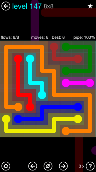Solution and Answer to the Puzzle for Flow Interval Pack Set 6x6 Level 147