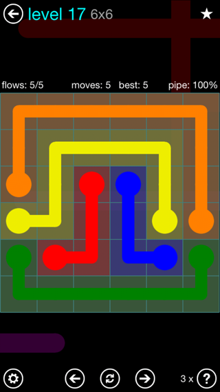 Solution and Answer to the Puzzle for Flow Interval Pack Set 6x6 Level 17