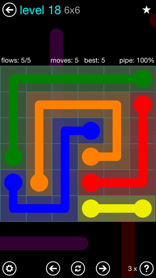 Solution and Answer to the Puzzle for Flow Interval Pack Set 6x6 Level 18