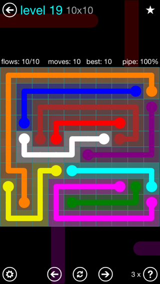 Solution and Answer to the Puzzle for Flow Interval Pack Set 6x6 Level 19