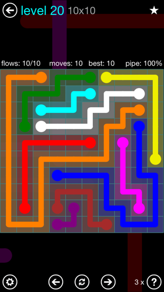 Solution and Answer to the Puzzle for Flow Interval Pack Set 6x6 Level 20