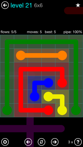 Solution and Answer to the Puzzle for Flow Interval Pack Set 6x6 Level 21