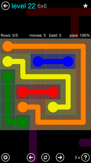 Solution and Answer to the Puzzle for Flow Interval Pack Set 6x6 Level 22