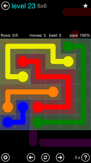 Solution and Answer to the Puzzle for Flow Interval Pack Set 6x6 Level 23