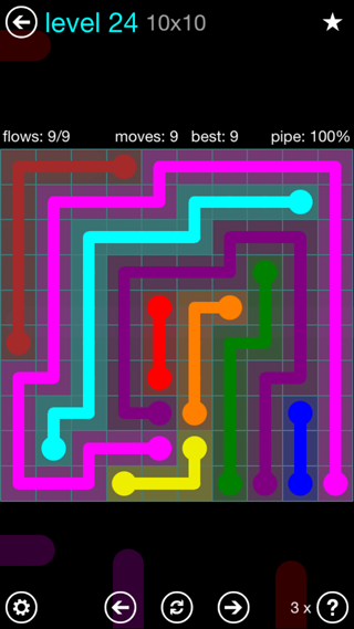 Solution and Answer to the Puzzle for Flow Interval Pack Set 6x6 Level 24