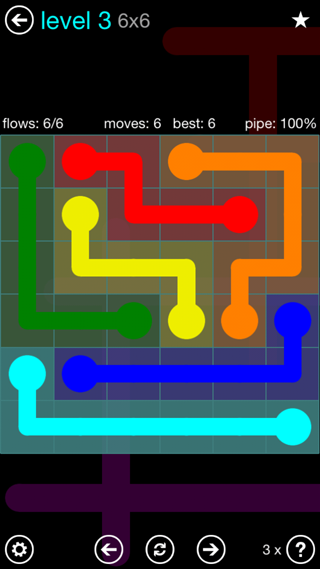 Solution and Answer to the Puzzle for Flow Interval Pack Set 6x6 Level 3