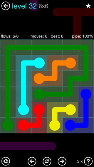 Solution and Answer to the Puzzle for Flow Interval Pack Set 6x6 Level 32